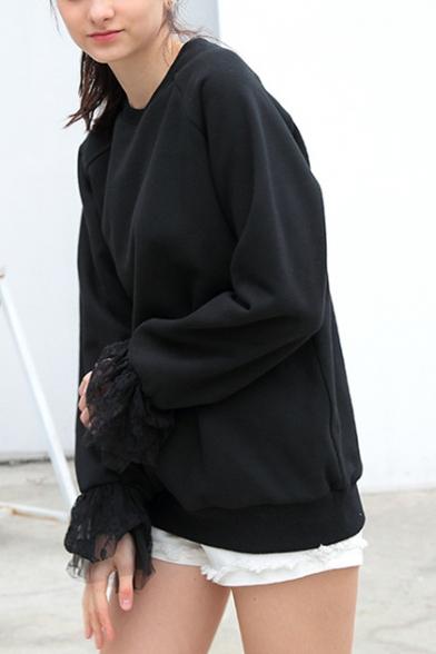 Womens Unique Stylish Lace-Panel Cuff Long Sleeve Plain Casual Loose Sweatshirt