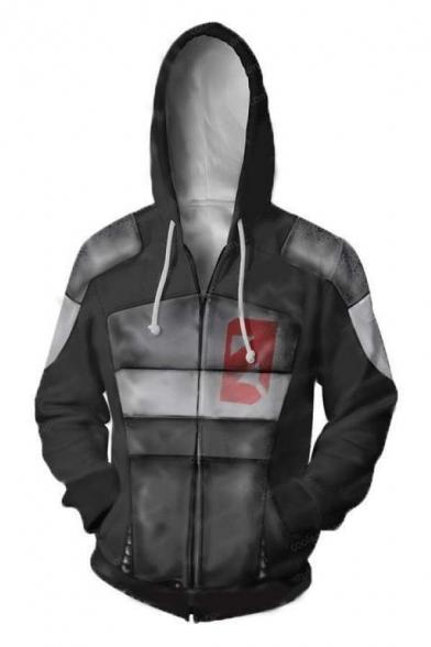 Classic Game Cosplay Costume Long Sleeve Zip Up Grey Hoodie