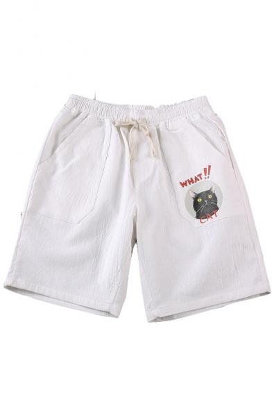 Cute Cartoon Cat Letter Print Drawstring Waist Men's Casual Loose Sport Shorts