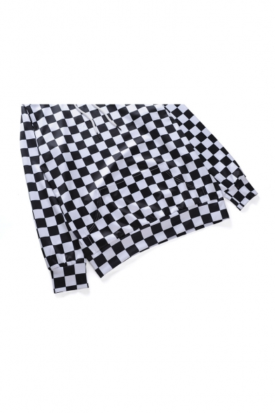 Fashion Black and White Checkerboard Printed Long Sleeve Pullover Hoodie