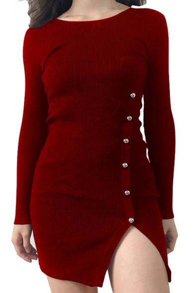 Fashion Hot Sale Round Neck Long Sleeve Beading Embellished Split Skinny Mini Knitted Dress