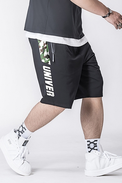 Fashion Letter Camouflage Patched Side Drawstring Waist Zip Pocket Black Casual Loose Sport Sweat Shorts