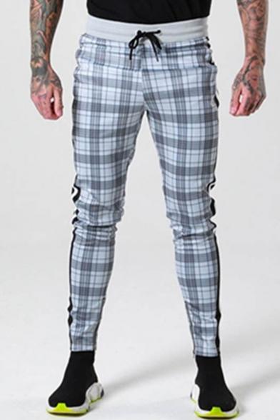 Fashion Plaid Pattern side-striped Zipper Embellishment Drawstring Waist Joggers Pencil Pants