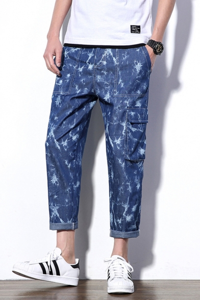 Fashion Snow Washed Multi-pocket Blue Cotton Casual Cargo Pants for Men