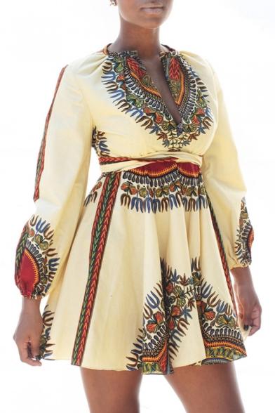 Fashion Womens Cutout Plunge V Neck Zip-Back Self-Tie Long Sleeve Tribal Print Mini A-line Dress