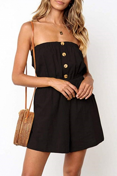 Fashionable Womens Simple Plain Strapless Button Front Elastic High Waist Summer Romper LM546157 фото
