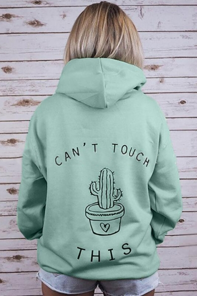 Funny Cactus Letter CAN'T TOUCH THIS Print Long Sleeve Casual Sport Hoodie