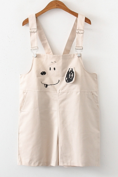 Girls Cartoon Dog Printed Casual Loose Overall Shorts