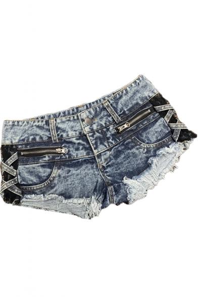 Girls Light Blue Sexy Low-Rise Fringed Hem Zipper Embellished Hot Pants Denim Shorts