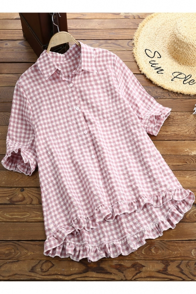 Baycheer / Girls Summer Fashion Plaid Printed Half Sleeve Button Down Ruffled Shirt Blouse