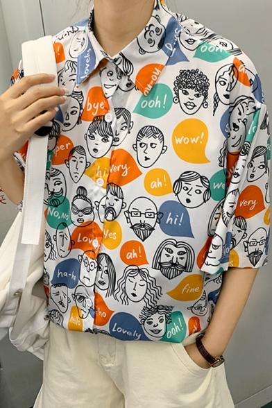 Girls Vintage Funny Cartoon Face Printed Short Sleeve Loose Shirt