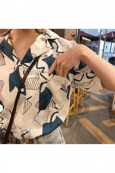 Girls Vintage Pattern Lapel Collar Short Sleeve Button Down Casual Loose Chiffon Shirt