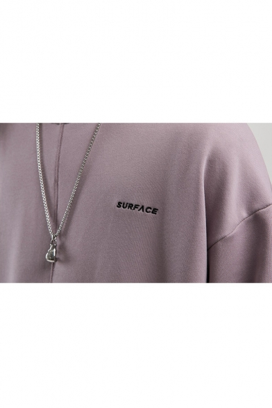 Guys Fancy Taro Purple Simple Letter Embroidery Round Neck Long Sleeve Loose Fit Pullover Sweatshirt