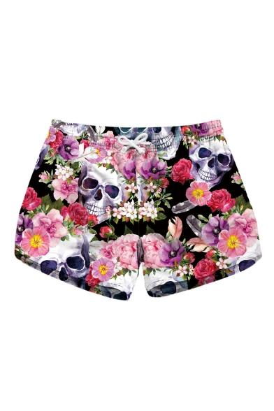 Hot Popular 3D Floral Skull Printed Drawstring Waist Swimwear Beach Shorts for Women