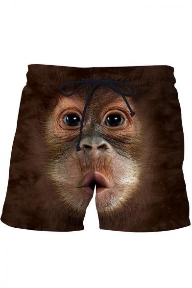Hot Popular Funny Gorilla Face Printed Drawstring Waist Khaki Shorts