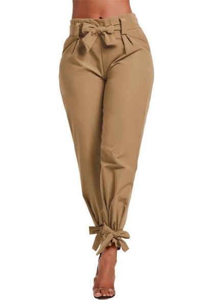 100% satisfaction top-rated real high fashion Hot Popular Plain Gather Waist Bow Tie Tapered Pants