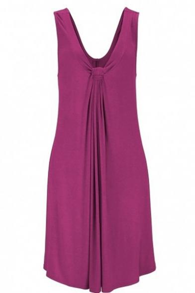 Hot Popular Ruched V-Neck Sleeveless Plain Midi Beach Tank Dress