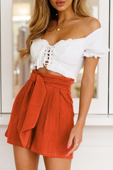 Hot Popular Simple Plain High Rise Tied Waist Casual Culottes Shorts