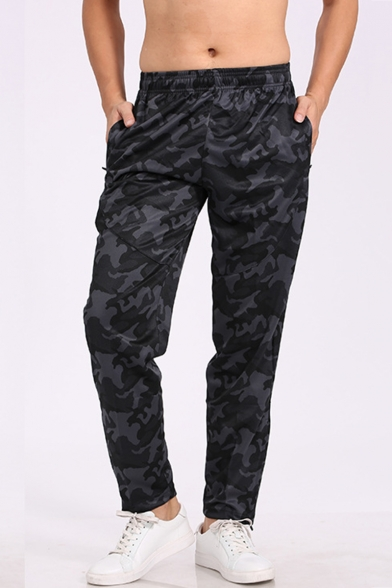 Men's Fashion Popular Camouflage Printed Elastic Waist Black Casual Relaxed Sports Pants