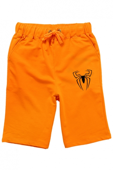 Men's Hot Fashion Popular Spider Printed Drawstring Waist Relaxed Sweat Shorts