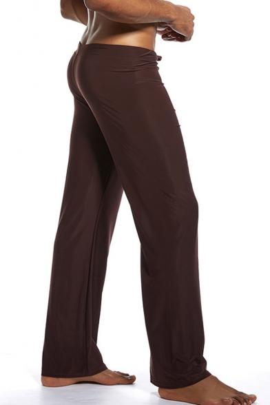 Men's Hot Fashion Simple Plain Ice Silk Fabric Drawstring Waist Wide Leg Homewear Pants