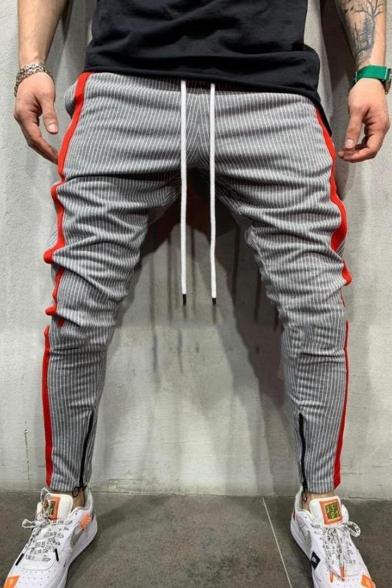 Men's New Stylish Colorblocked Stripe Pattern Zippered Vent Drawstring Waist Casual Pencil Pants