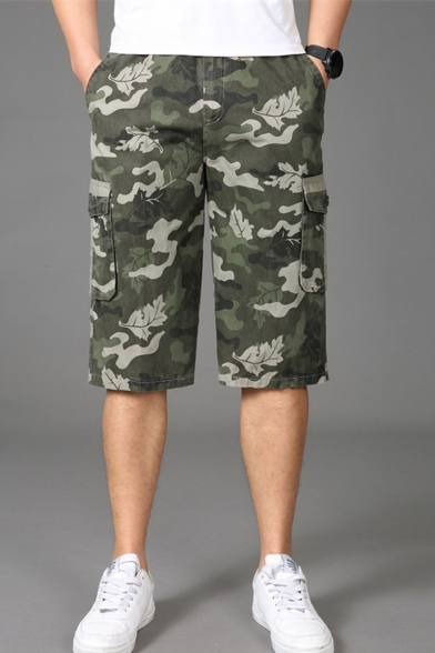 Men's Popular Fashion Camouflage Printed Flap Pocket Side Casual Loose Cargo Shorts