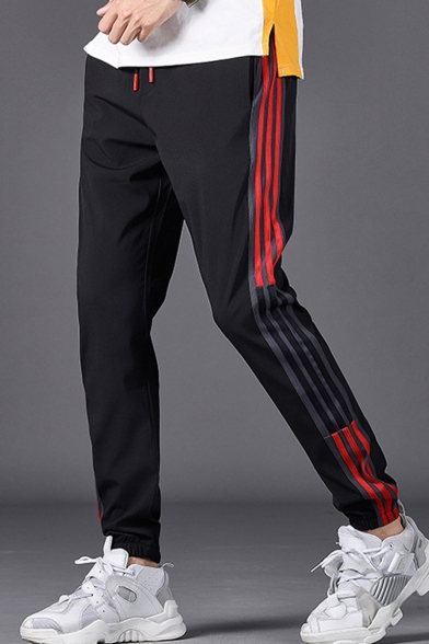 Men's Popular Fashion Classic Contrast Stripe Side Drawstring Waist Black Casual Relaxed Track Pants
