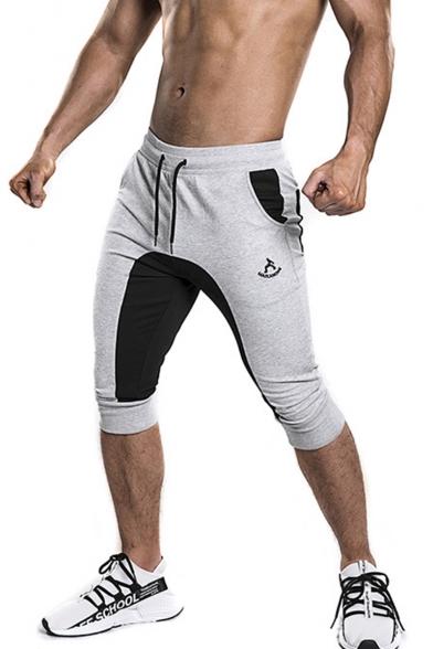 Men's Popular Fashion Colorblock Logo Embroidery Pattern Drawstring Waist Cotton Sports Sweat Shorts