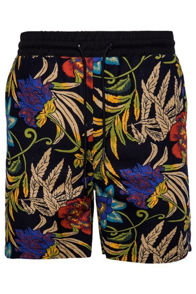 Men's Summer Fashion Floral Pattern Black Drawstring Beach Short Swim Trunk with Patched Pocket
