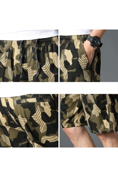 Men's Summer Fashion Popular Camouflage Printed Letter CLASSIC Patchwork Casual Relaxed Shorts