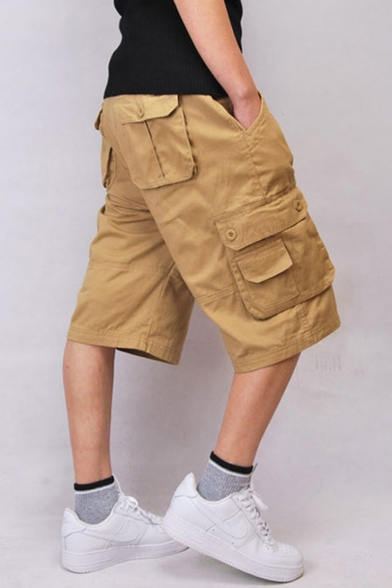 Men's Summer Fashion Simple Plain Flap Pocket Side Loose Cotton Cargo Shorts