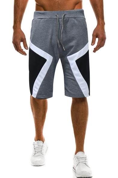 Men's Summer New Fashion Personalized Colorblocked Geometric Pattern Drawstring Waist Sports Sweat Pants