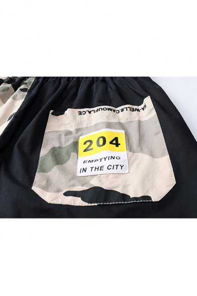 Men's Summer Trendy Camouflage Letter Printed Drawstring Waist Casual Cotton Relaxed Shorts