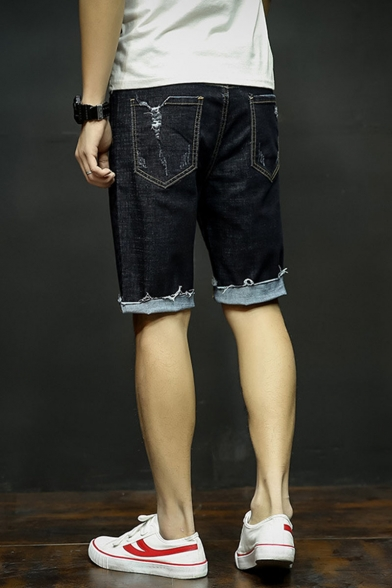 Men's Summer Trendy Simple Plain Cut Off Style Black Ripped Denim Shorts