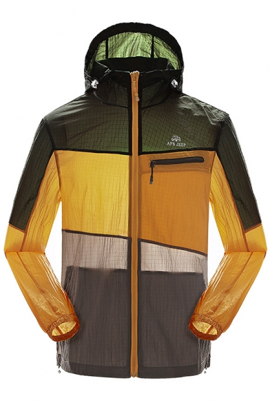Mens Fashion Color Block Ultra-Thin Breathable Lightweight Sun Protection Waterproof Zip Up Hooded Skin Jacket