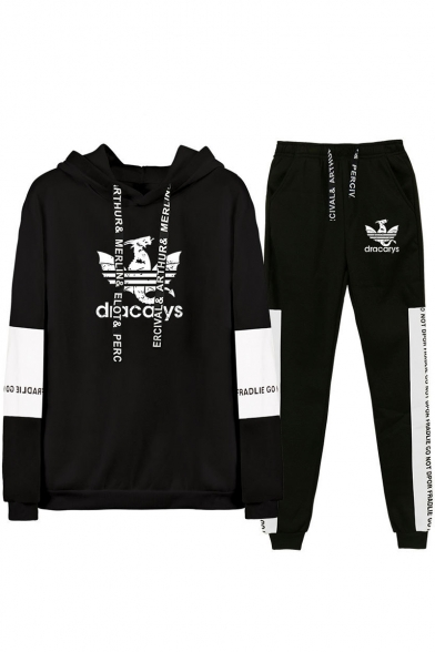 Popular Dracarys Dragon Logo Print Letter Drawstring Hoodie with Casual Joggers Pants Two-Piece Set