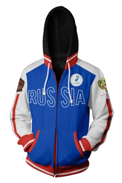RUSSIA Color Block Fashion Blue Comic Cosplay Costume Long Sleeve Zip Up Sport Loose Hoodie