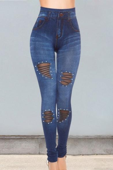 Stylish Chic Solid Plain High Waist Beading Sheer Mesh Patch Skinny Fitted Sport Fake Denim Legging Pants
