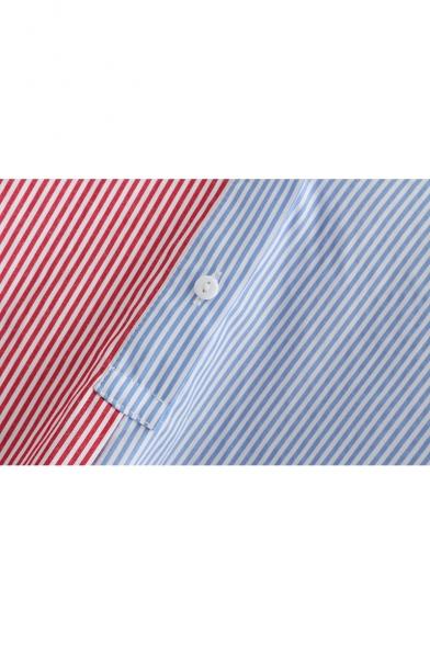 Stylish Colorblock Vertical Striped Printed Long Sleeve Split Side High Low Hem Longline Button Down Shirt