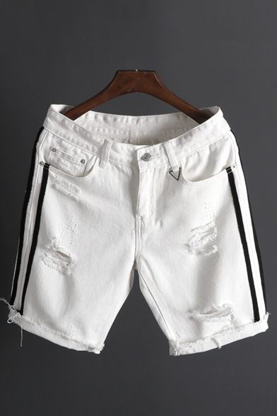Stylish Stripe Side Ripped Detail Rolled Raw-edged Zip-fly Casual Denim Shorts for Men