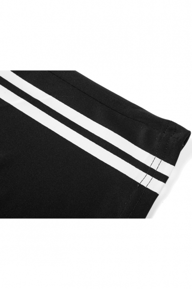 Summer Fashion Contrast Stripe Pattern Elastic Waist Men's Leisure Cotton Sweat Shorts