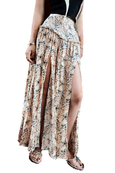 detailing top-rated official shop for best Summer Fashion High Waist Beige Floral Print Split Front Maxi Boho