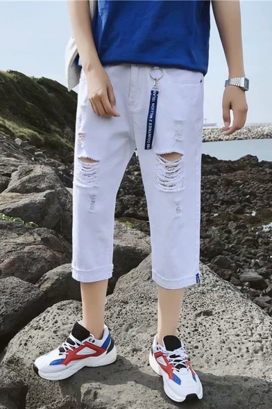 Summer Fashion Simple Plain Ribbon Embellished Cropped Ripped Jeans