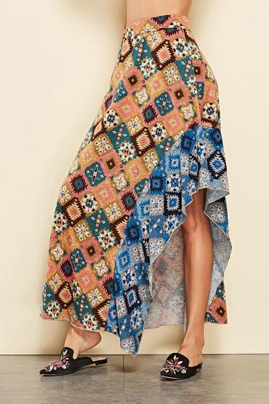 Summer Girls Hot Stylish Geometric Patchwork Print Split Side Maxi High Waist Skirt