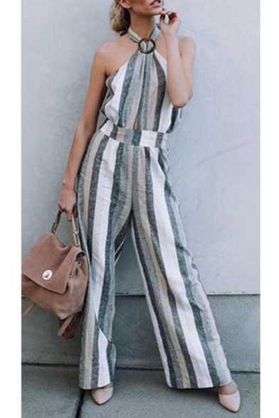 Baycheer / Summer Hot Popular Halter Sleeveless Striped Printed Backless High Waist Sexy Jumpsuits