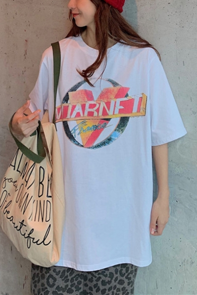 Summer Hot Popular Simple Letter Logo V Print Round Neck Oversized Loose Tee LM547682 фото