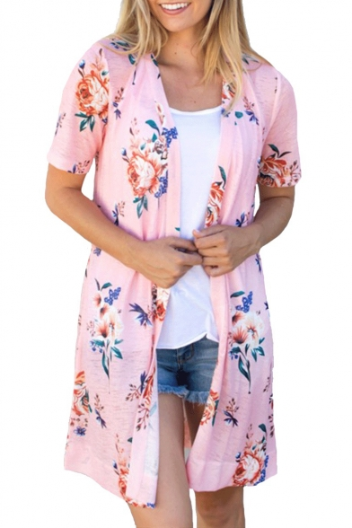 Summer Hot Popular Womens Floral Printed Short Sleeve Polyester Holiday Loose Cardigan Shirt