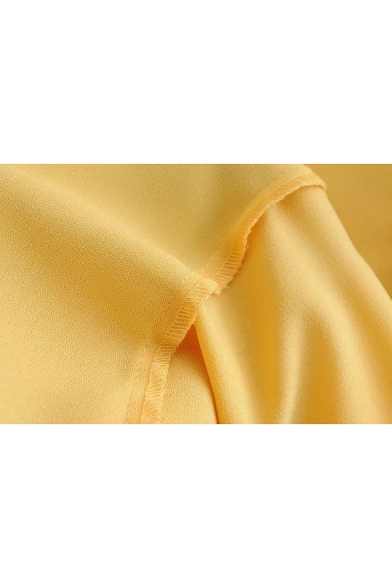 Summer Hot Trendy Lace-Trim V Neck Short Sleeve Button Down Yellow Mini A-Line Dress