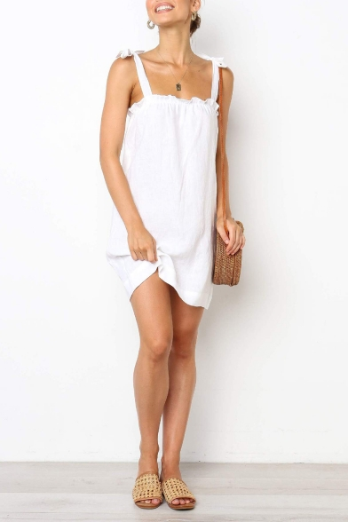Summer Hot Trendy Solid Color Bow-Tied Straps Sleeveless Mini Cami Dress
